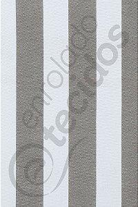 Tecido Gorgurinho Listrado Cinza e Branco 1,50m de Largura