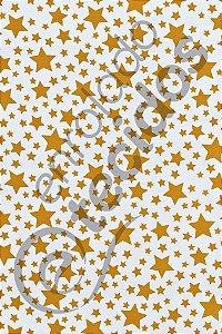 Tecido Gorgurinho Estrelinha Dourado e Branco 1,50m de Largura