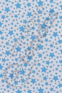 Tecido Gorgurinho Estrelinha Azul Bebê e Branco 1,50m de Largura