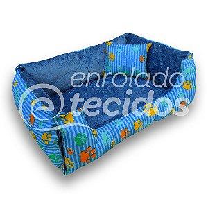 Caminha PET Luxo Dupla Face em Tecido Gorgurinho e Suede Azul