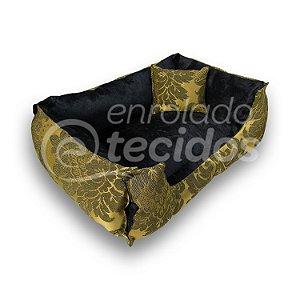 Caminha PET Luxo Dupla Face em Tecido Jacquard Preto e Dourado e Suede Preto