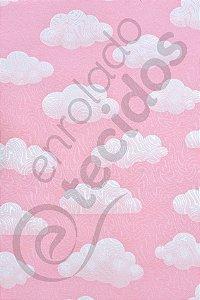 Tecido Jacquard Estampado Céu Nuvem Rosa 1,40m de Largura