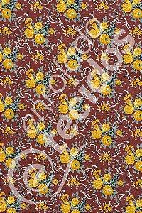 Tecido Gorgurinho Floral Vintage Marsala 1,50m de Largura
