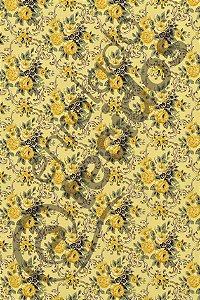 Tecido Gorgurinho Floral Vintage Amarelo 1,50m de Largura