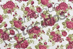 Tecido Jacquard Estampado Floral Vermelho 2,80m de Largura