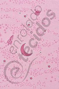 Tecido Shining Wall Sky Céu Rosa (brilha no escuro) 1,4m de Largura