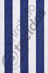 Tecido Jacquard Estampado Listrado Azul Marinho e Branco 1,40m de Largura