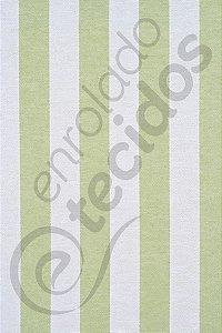 Tecido Jacquard Fio Tinto Listrado Verde Claro e Branco 2,80m de Largura