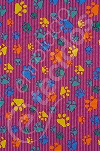 Tecido Gorgurinho PET Patinha Animal Rosa 1,50m de Largura