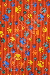 Tecido Gorgurinho PET Patinha Animal Vermelho 1,50m de Largura