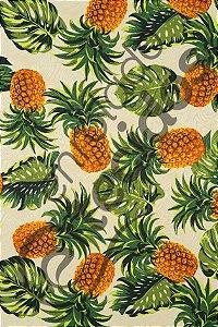 Tecido Jacquard Estampado Abacaxi Amarelo 1,40m de Largura