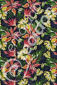 Tecido Summer Impermeável Floral Fundo Azul Marinho 1,40m de Largura
