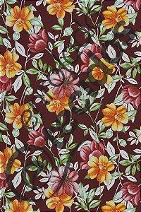 Tecido Summer Impermeável Floral Marsala 1,40m de Largura