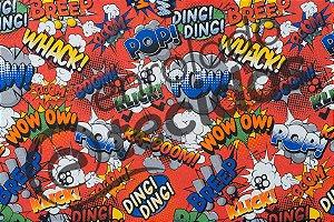 Tecido Jacquard Estampado Onomatopéia Super Heróis Vermelho POW WOW BOOM 2,80m de Largura