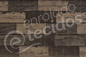 Tecido Jacquard Estampado Madeira Escura (desenho sentido largura) 2,80m de Largura