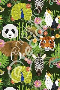 Tecido Party Decor Safari Animais 1,50m de Largura