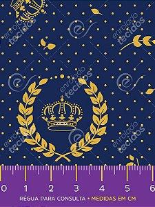 Tecido Tricoline Estampado Coroa Azul Marinho e Dourado 1,50m de Largura