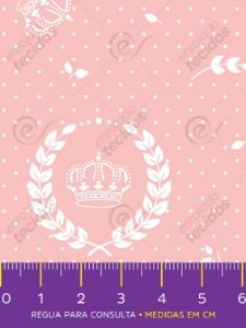 Tecido Tricoline Estampado Coroa Rosa e Branco 1,50m de Largura