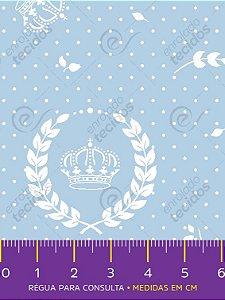 Tecido Tricoline Estampado Coroa Azul Bebê e Branco 1,50m de Largura