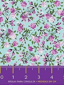 Tecido Tricoline Estampado Floral Lilás Fundo Azul 1,50m de Largura