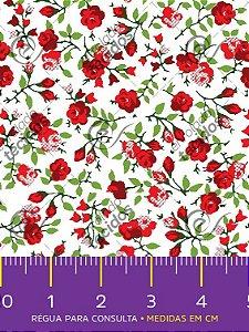Tecido Tricoline Estampado Floral Vermelho Fundo Branco 1,50m de Largura