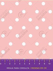 Tecido Tricoline Estampado Poá Rosa e Branco 1,50m de Largura