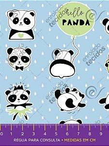 Tecido Tricoline Estampado Ursinho Panda Azul Bebê 1,50m de Largura