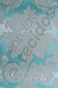 Tecido Jacquard Azul Bebê e Bege Medalhão ou Listrado 2,80m de Largura