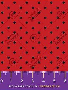Tecido Tricoline Estampado Poá Pequeno Vermelho e Preto 1,50m de Largura