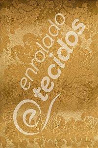 Tecido Jacquard Dourado Ouro Vibrante Medalhão ou Listrado 2,80m de Largura