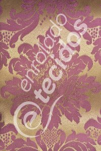 Tecido Jacquard Roxo e Dourado Medalhão ou Listrado 2,80m de Largura