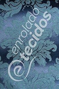 Tecido Jacquard Azul Marinho e Turquesa Medalhão ou Listrado 2,80m de Largura