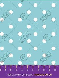 Tecido Tricoline Estampado Poá Azul Turquesa e Branco 1,50m de Largura