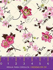 Tecido Tricoline Estampado Floral Rosa Escuro Fundo Off-White 1,50m de Largura