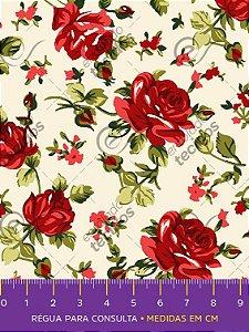 Tecido Tricoline Estampado Floral Vermelho Fundo Pérola 1,50m de Largura