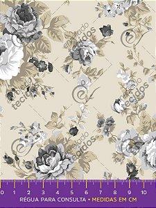Tecido Tricoline Estampado Floral Cinza Fundo Bege 1,50m de Largura