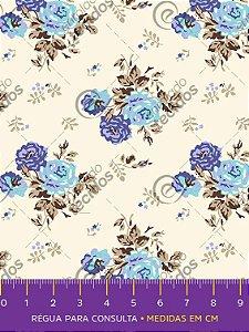 Tecido Tricoline Estampado Floral Azul e Violeta Fundo Pérola 1,50m de Largura