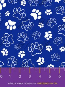 Tecido Tricoline Estampado Patinha Cachorro Azul 1,50m de Largura