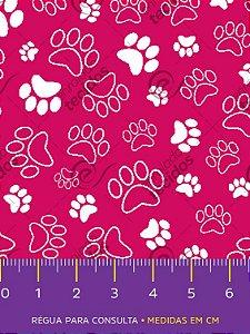 Tecido Tricoline Estampado Patinha Cachorro Rosa Pink 1,50m de Largura