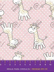 Tecido Tricoline Estampado Girafinha Rosa Bebê 1,50m de Largura