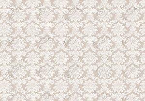 Tecido Jacquard Fio Tinto Medalhão Bege e Branco (desenho sentido largura) 2,80m de Largura