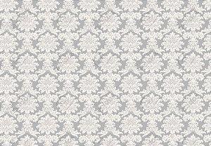 Tecido Jacquard Fio Tinto Medalhão Cinza e Branco (desenho sentido largura) 2,80m de Largura