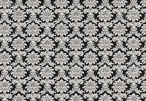Tecido Jacquard Fio Tinto Medalhão Preto e Branco (desenho sentido largura) 2,80m de Largura