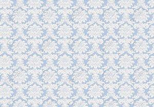 Tecido Jacquard Fio Tinto Medalhão Azul Bebê e Branco (desenho sentido largura) 2,80m de Largura