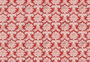 Tecido Jacquard Fio Tinto Medalhão Vermelho e Branco (desenho sentido largura) 2,80m de Largura