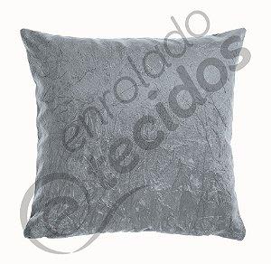 Almofada em Suede Amassado Cinza 45cm x 45cm