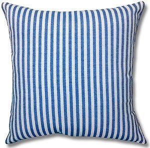 Almofada em Jacquard Fio Tinto Listrado Azul Royal 45cm x 45cm