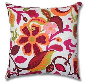 Almofada em Jacquard Estampado Floral Vermelho 45cm x 45cm