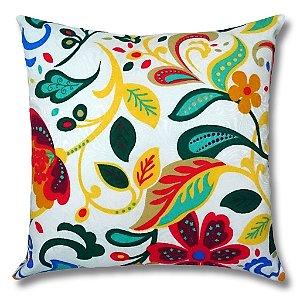 Almofada em Jacquard Estampado Floral Colorido 45cm x 45cm