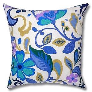 Almofada em Jacquard Estampado Floral Azul 45cm x 45cm